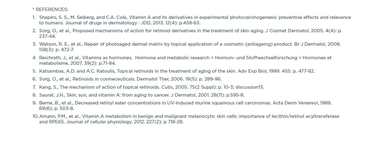 Vitamin A References